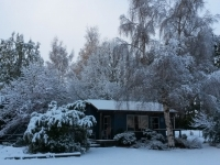 Blue Cottage in Winter